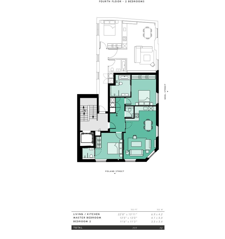 Lovelydays luxury service apartment rental - London - Soho - Noel Street VI - Lovelysuite - 2 bedrooms - 2 bathrooms - Floorplan - aede4a2ef201 - Lovelydays