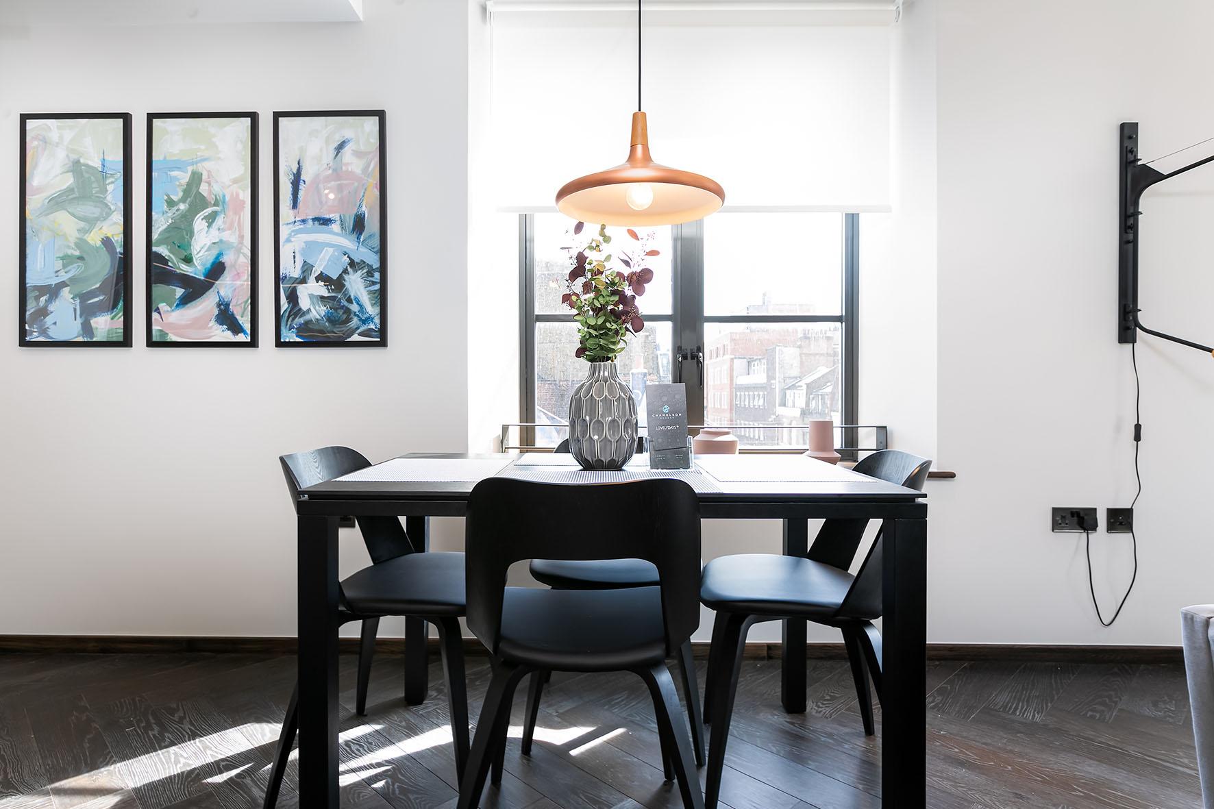 Lovelydays luxury service apartment rental - London - Soho - Noel Street VI - Lovelysuite - 2 bedrooms - 2 bathrooms - Dining living room - bc0307bc8ae7 - Lovelydays
