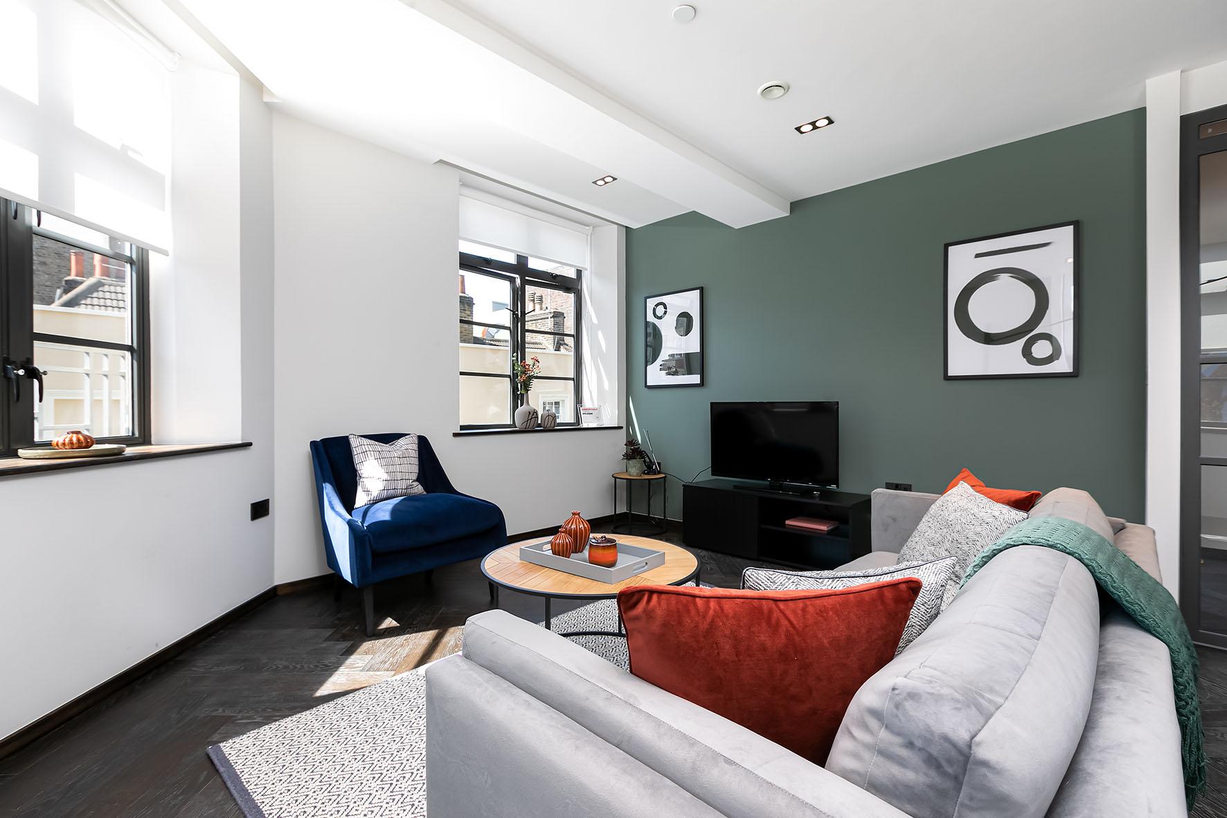 Lovelydays luxury service apartment rental - London - Soho - Oxford Street IV - Lovelysuite - 2 bedrooms - 2 bathrooms - Luxury living room - ed6d5c371adf - Lovelydays