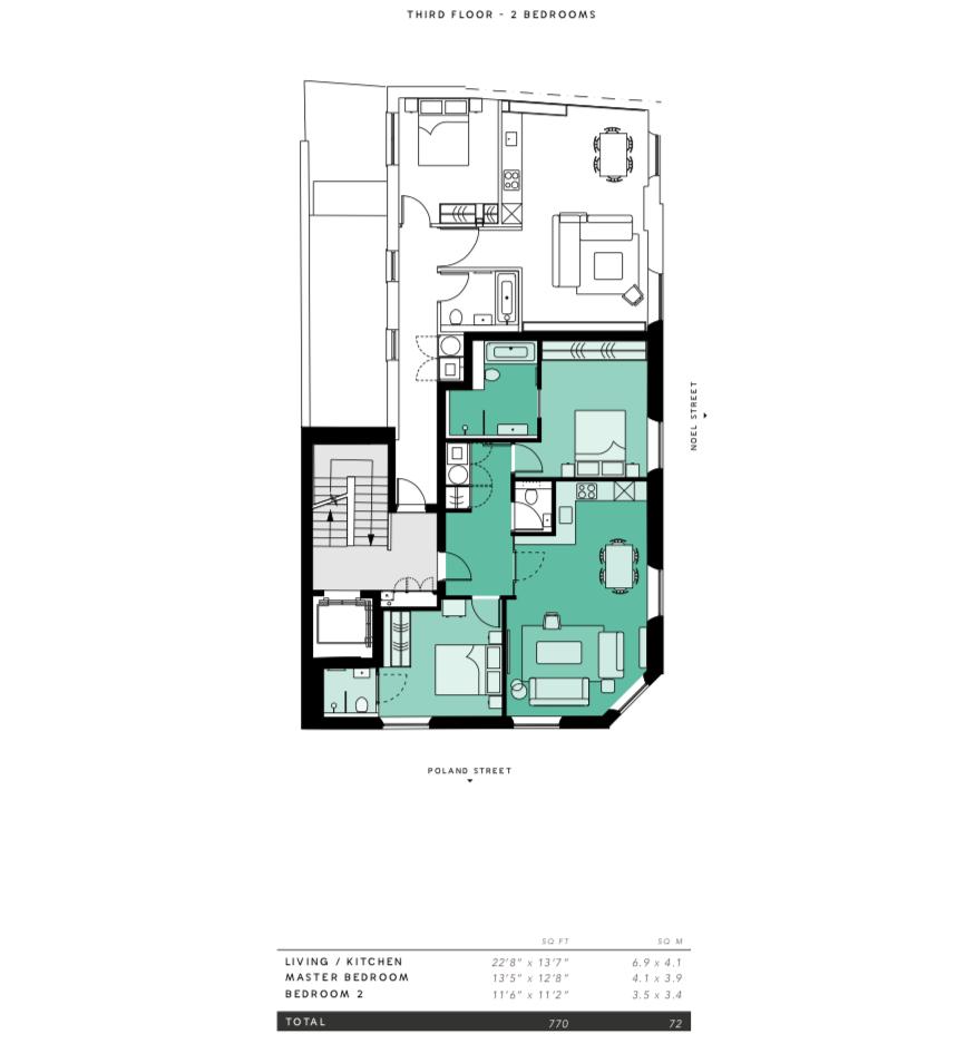 Lovelydays luxury service apartment rental - London - Soho - Oxford Street IV - Lovelysuite - 2 bedrooms - 2 bathrooms - Floorplan - 0bba5bfd9525 - Lovelydays