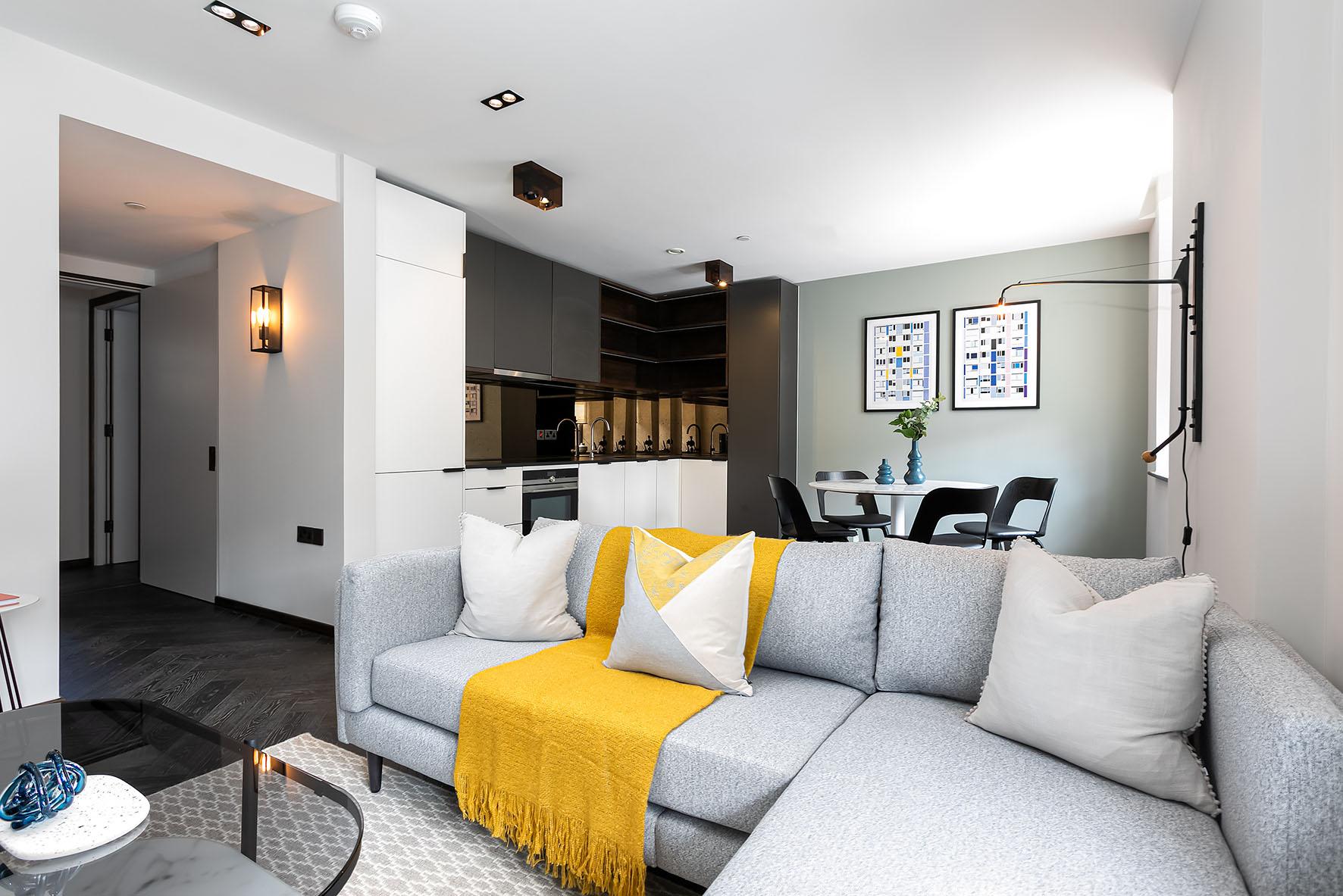 Lovelydays luxury service apartment rental - London - Soho - Oxford Street V - Lovelysuite - 1 bedrooms - 1 bathrooms - Luxury living room - 4c965b6bbd0c - Lovelydays