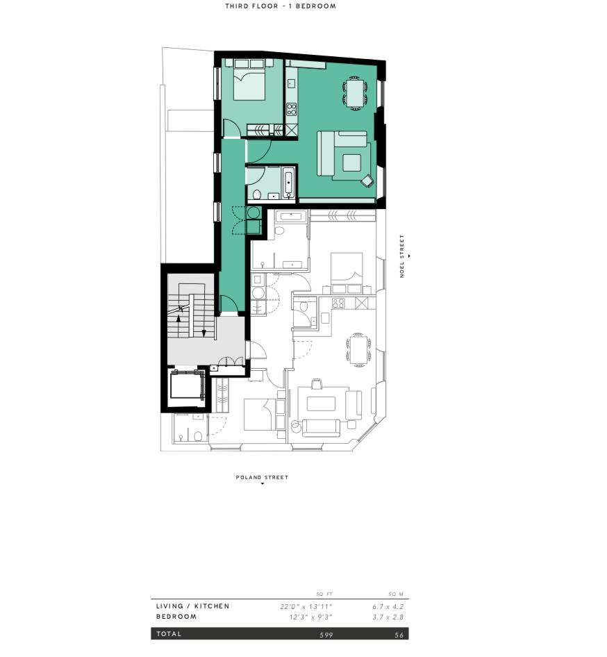 Lovelydays luxury service apartment rental - London - Soho - Oxford Street V - Lovelysuite - 1 bedrooms - 1 bathrooms - Floorplan - 66027ea4408f - Lovelydays