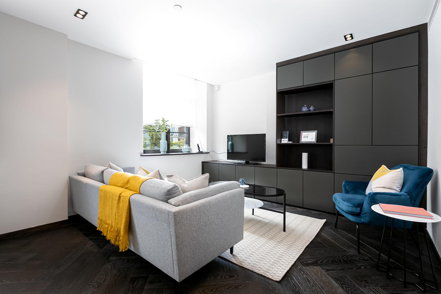 Lovelydays luxury service apartment rental - London - Soho - Oxford Street V - Lovelysuite - 1 bedrooms - 1 bathrooms - Luxury living room - e0177984123b - Lovelydays
