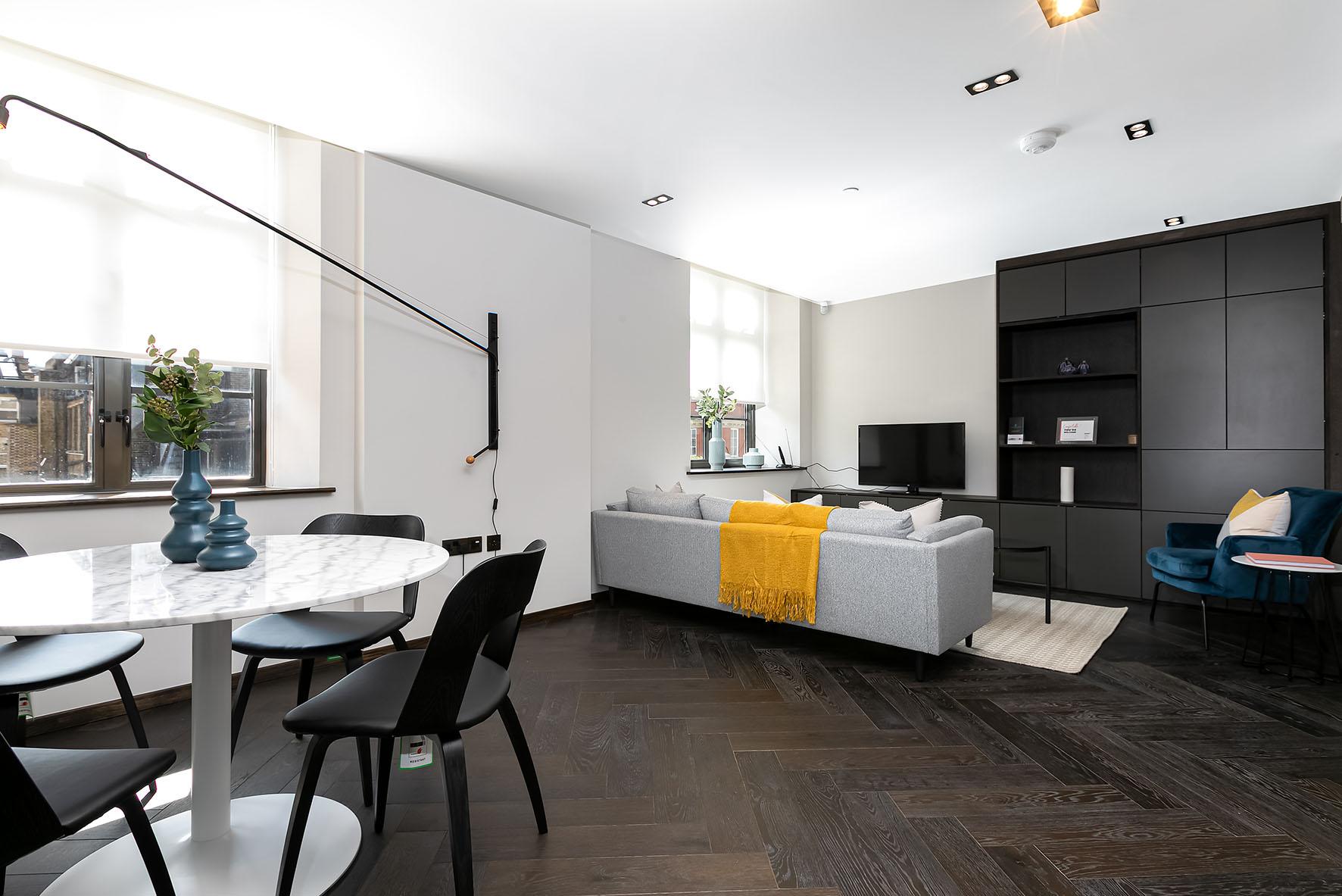 Lovelydays luxury service apartment rental - London - Soho - Oxford Street V - Lovelysuite - 1 bedrooms - 1 bathrooms - Luxury living room - 0ada28175f76 - Lovelydays