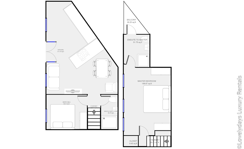 Lovelydays luxury service apartment rental - London - Fitzrovia - Wells Mews A - Lovelysuite - 2 bedrooms - 2 bathrooms - Floorplan - 5 star serviced apartments in london - b4987dce79de - Lovelydays