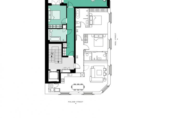 Lovelydays luxury service apartment rental - London - Soho - Berwick Street III - Lovelysuite - 1 bedrooms - 1 bathrooms - Floorplan - 77e7085870d9 - Lovelydays